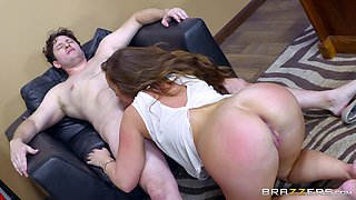 Maddy prepares the partners's dick for banging by giving a blowjob