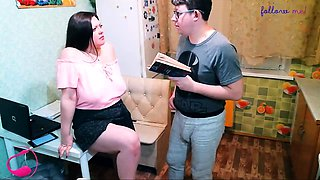 Chubby brunette with big natural boobs gets fucked by a nerd