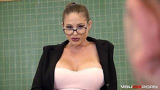 Big Tittied Strict Teacher Teaches a Lesson!