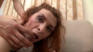 Slutty granny in stockings falls in lust with a young cock