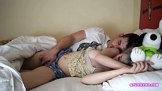 Step brother fingering sleeping sister