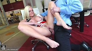Young boss fucks sex-appeal blond secretary Alena Croft on the chair