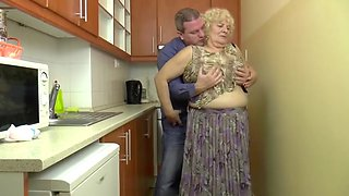 Bbw blonde granny fucks in the kitchen
