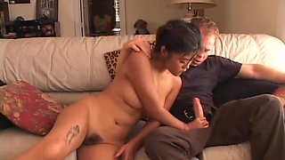Dirty Asian slut gets her hairy twat fucked by American cock