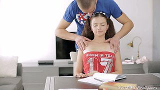Bodacious Russian teenager Nastya gives nice head to her buddy