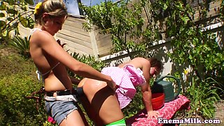 Milk enema les babe straponfucked outdoors
