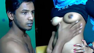 Lewd Srilankan couple stripteases and gets ready for foreplay on webcam