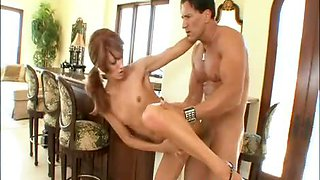 Flat chested milf Anya Wood getting monster cock plunged