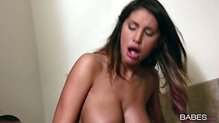 Slutty long haired brunette in nylon stockings rides BBC in the toilet