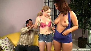 Pretty wife share her husband with sexy babysitter