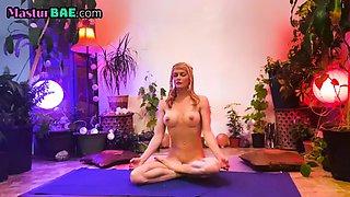 Busty hippie meditates and masturbates