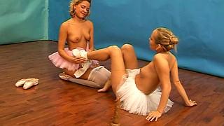 Ballerinas in cute tutus and tights suck titties and lick vagina