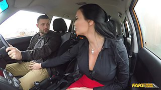 Fake driving school threesome with dark haired beauty