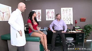 Doctor decides to inspect her pussy with is big cock