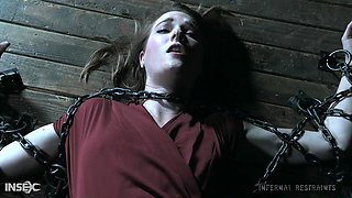 Teen blonde beauty Ashley Lane chained up and pussy abused