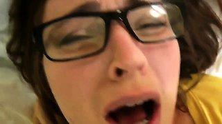 Buxom brunette mom with glasses gets banged on the bed