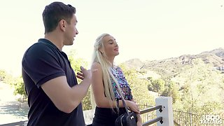 Long haired quite buxom Czech blondie Daisy Lee gives a terrific blowjob