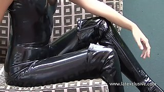 Lara: black latex sleeveless catsuit
