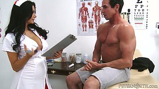 Horn made nurse gets her oversized tits kissed and mauled by patient