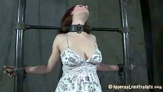 Redhead slut wearing cute dress is brutally bounded by her master and mmistress