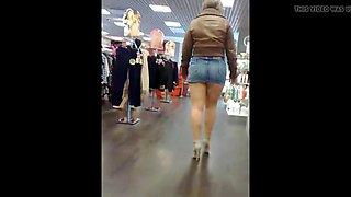 indecent mini skirt display - then jizz on tits