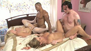 Mind blowing foursome with two white busty babes and two studs