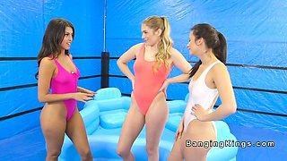 Oil wrestling lesbians tribbing in pool