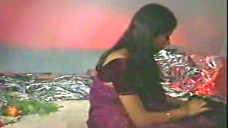 Appetizing Indian teen in sari in passionate erotic scene with her man