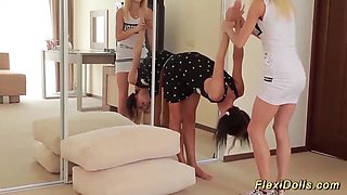 young flexi doll stretched by her girlfriend