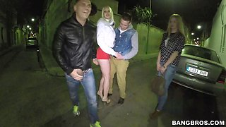 Drunk slut gets abused by two guys on the street