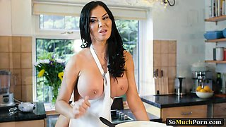 Huge boobs mature Jasmine Jae gets banged in the kitchen