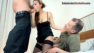 The chick's submissive partner has to watch her getting shagged