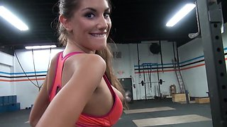 Whorish beauty August Ames can't resist having sex in empty gym