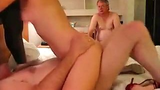 Gang bang with one really horny babe