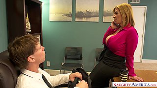 Mature accountant Sara Jay is fucked by young co-worker right on the table