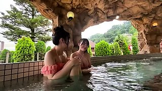 Two adorable Japanese babes sharing their passion for cock