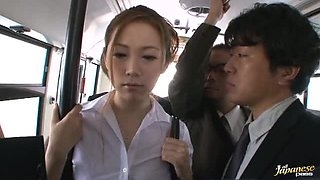 Japanese Broad Gangbanged On A Bus.