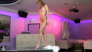 Blonde diva Blue Angel masturbates on the striptease pole stage