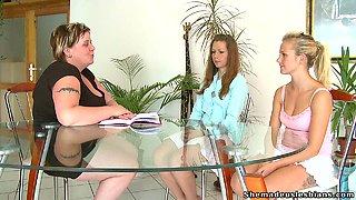Fat mature teacher seduced her cute students to follow her lesbian way