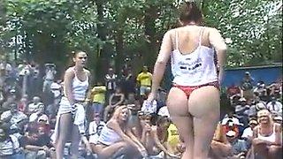 Slutty car show girl and the juicy tshirt girls
