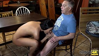 DADDY4K. Grey-haired dad makes love to his