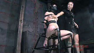 Mina gets her tits pinched and her clit pumped in hot BDSM clip