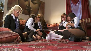 Busty lesbian babes decided to have fun in the bedroom