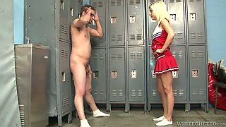 Leggy cheerleader knocking out one dude in the locker room