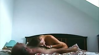 Couple having some pretty rough sex in their bedroom here