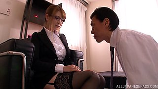 Redhead Japanese babe in glasses and stockings is fucked in hot Hardcore
