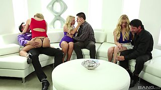 Sweet Lucy Tyler and other girls get fucked together on the couch