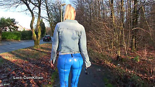 german blonde in tight leather pants