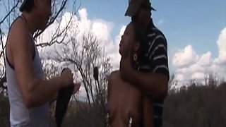 African slave abused and double teamed outdoors