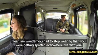 British cabbie babe cocksucking her passenger